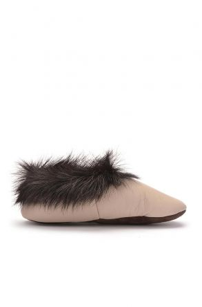 Pegia Kids House-Shoes From Genuine Leather With Fur Top Beige