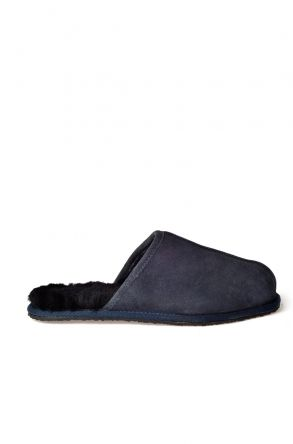 Pegia Men House Slippers From Genuine Fur Navy blue
