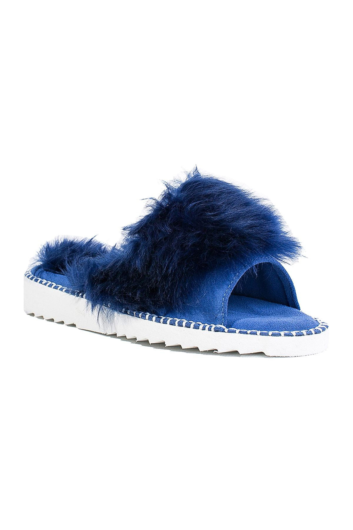 Pegia Port Pelle Women Slippers From Genuine Fur REC-007 Navy blue