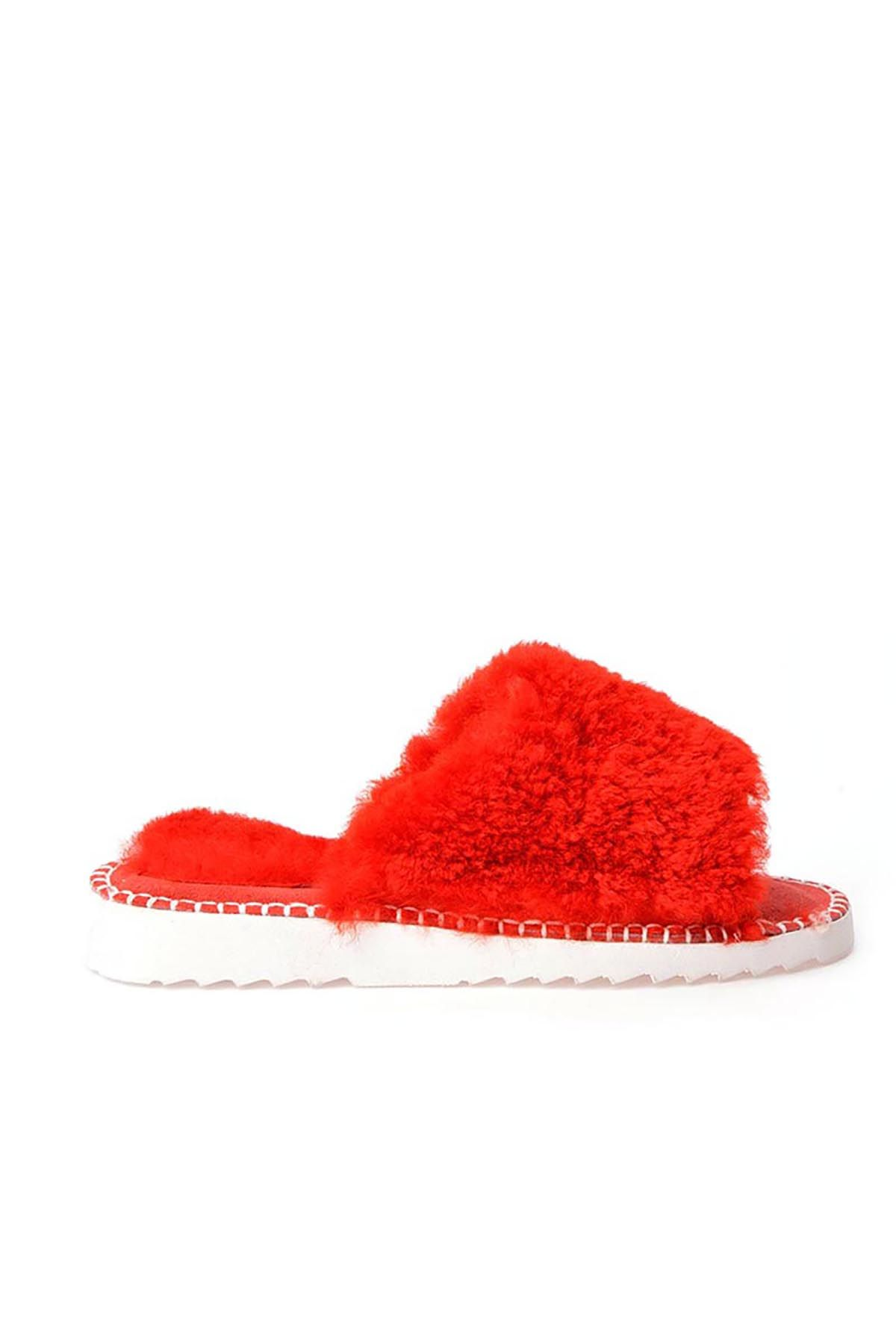 Pegia Port Pelle Women Slippers From Genuine Fur REC-007 Red