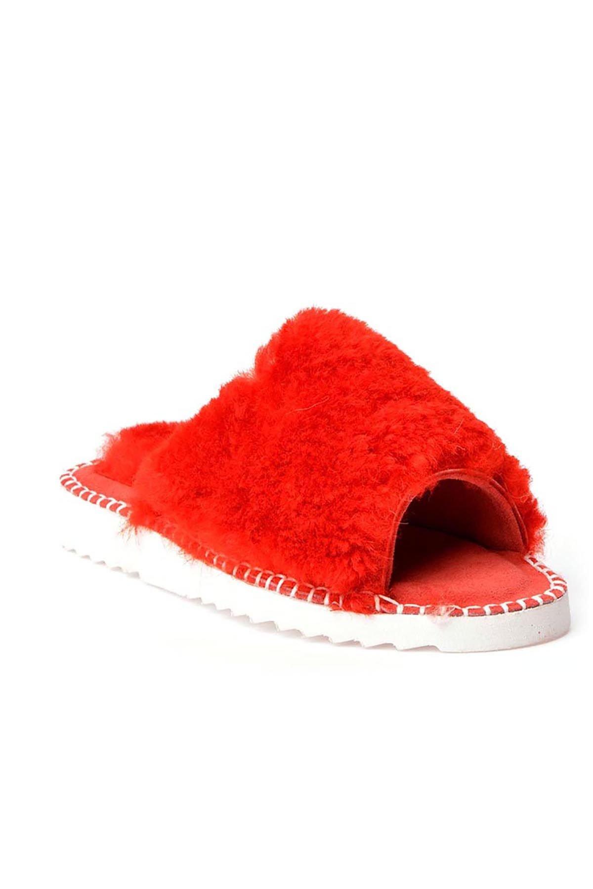 Pegia Port Pelle Женские Тапочки Из Натуральной Кожи Украшенные Мехом REC-007 Красный