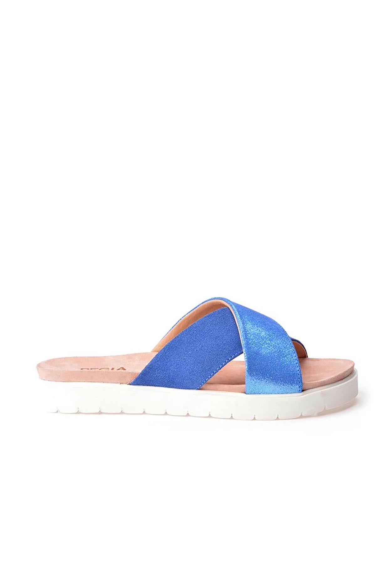 Pegia La Ferme Hakiki Deri Bayan Terlik REC-008 Mavi