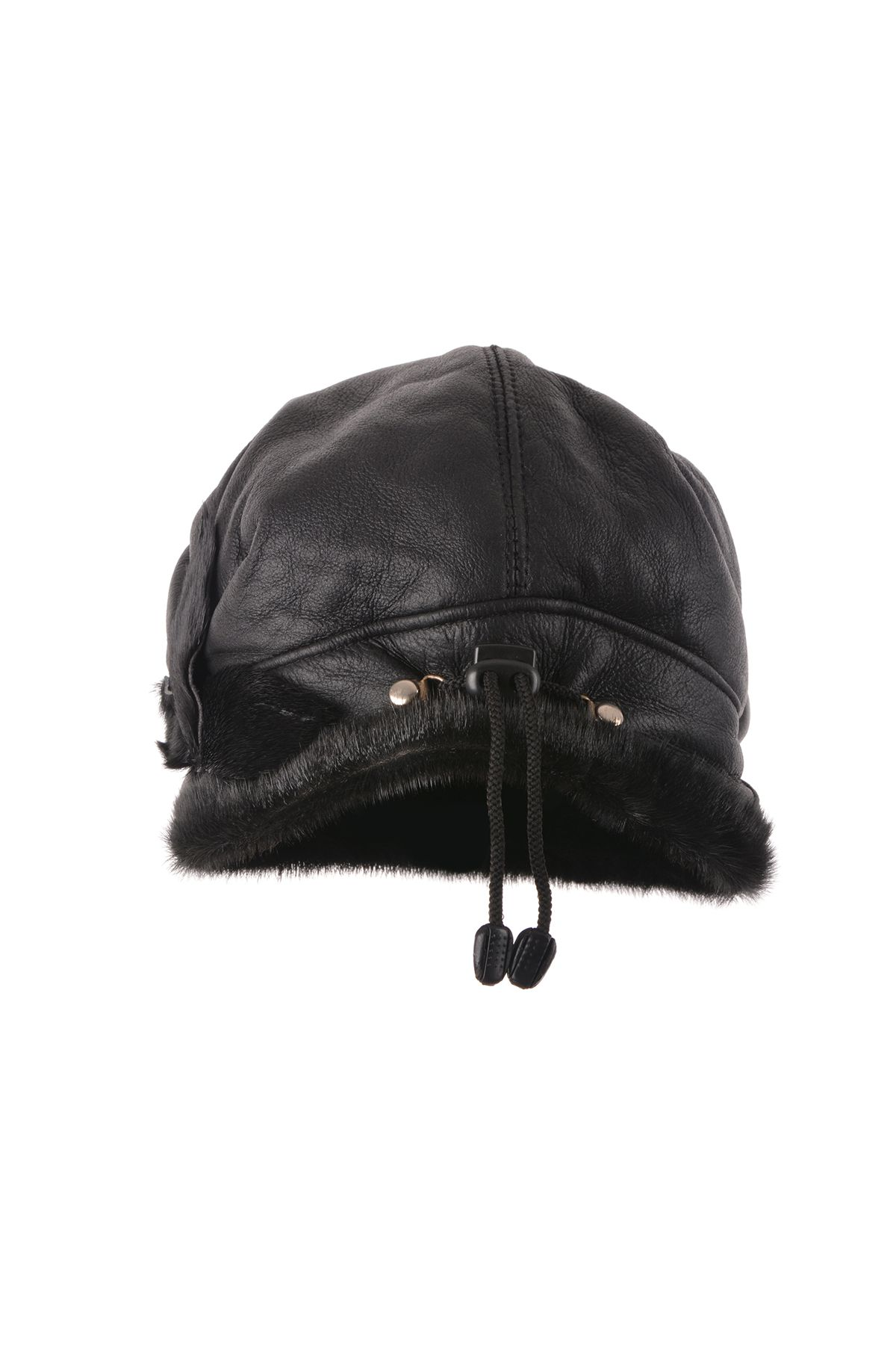 Pegia Pilot Ear-Flaps Hat From Genuine Leather And Fur With Flower-Shaped Fur Addition Black