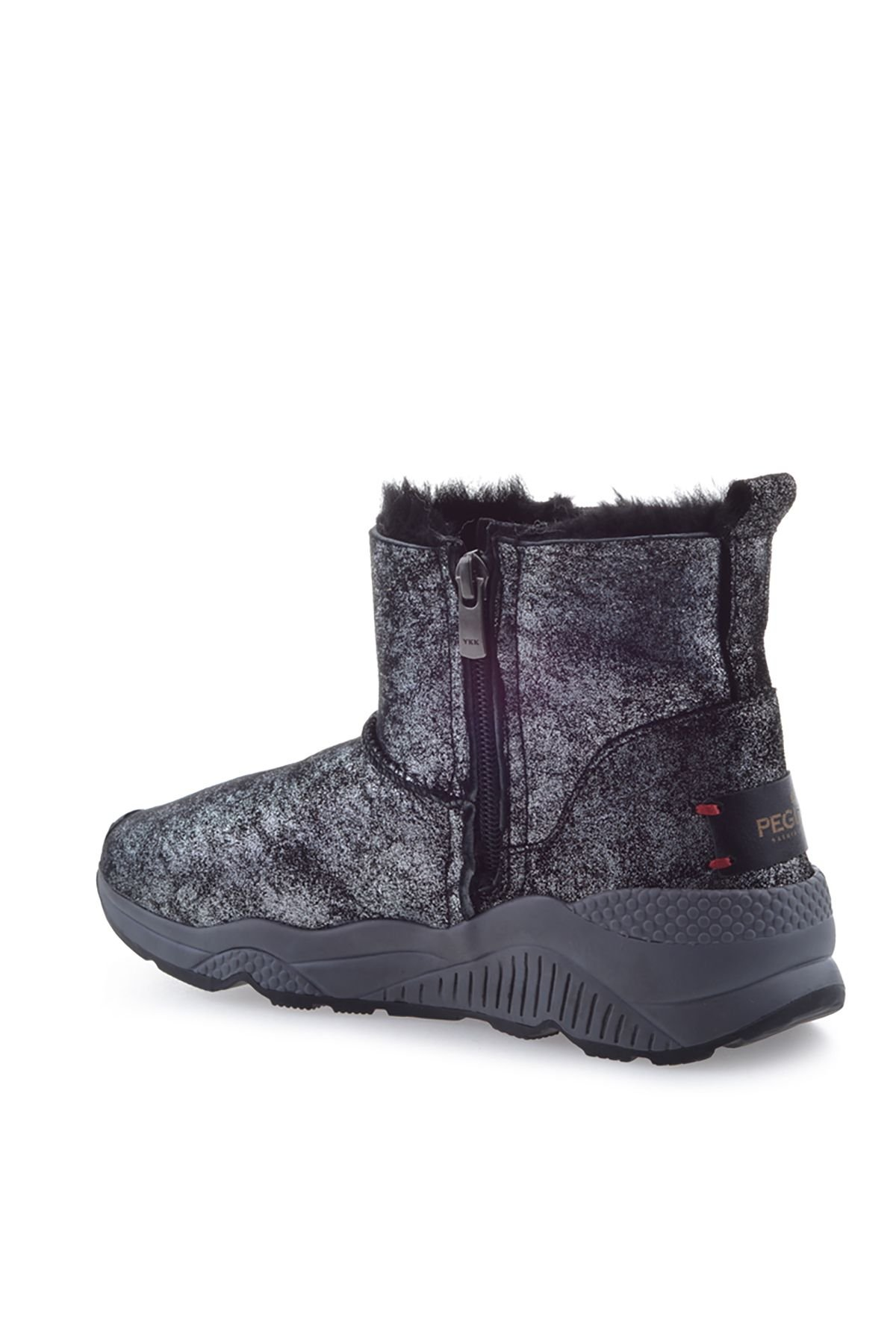 Pegia Women Boots From Genuine Fur With Side Zip 157401 Silver