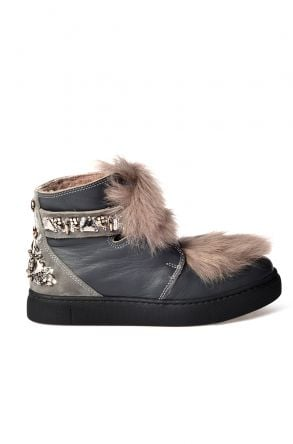 Pegia Women Boots From Natural Leather And Toscana Fur 157608 Gray