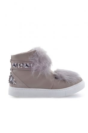 Pegia Women Boots From Natural Leather And Toscana Fur 157608 Beige