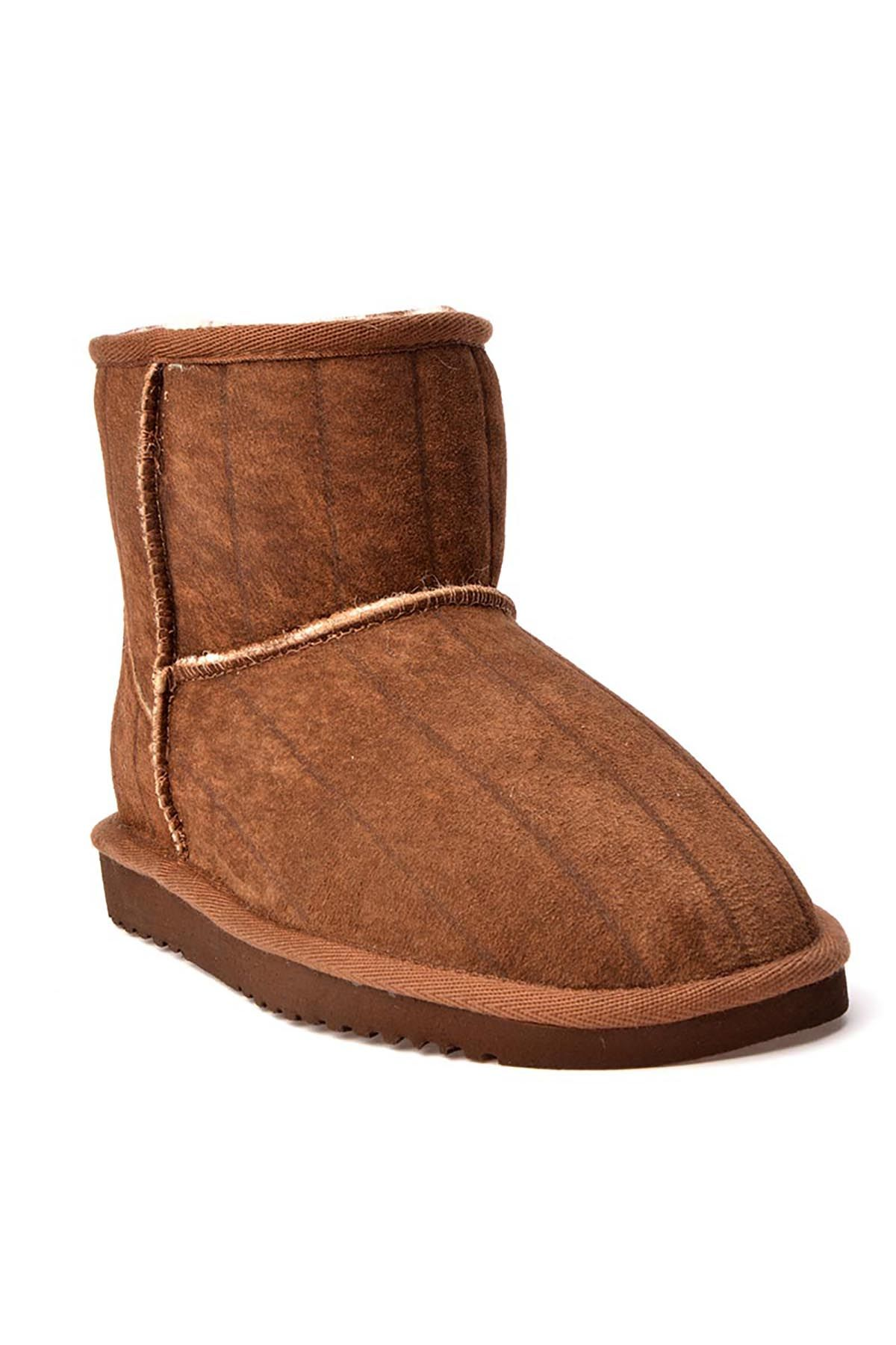 Cool Moon Women Boots From Genuine Fur With Stripes Pattern 990242 Brown
