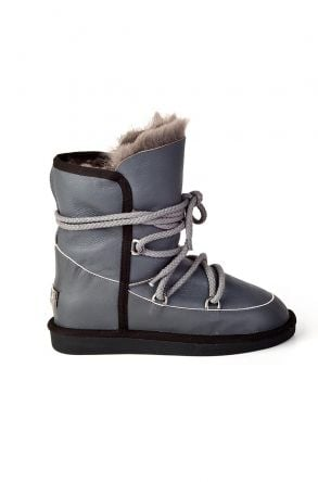 Pegia Laced Women Boots From Genuine Leather & Fur Gray