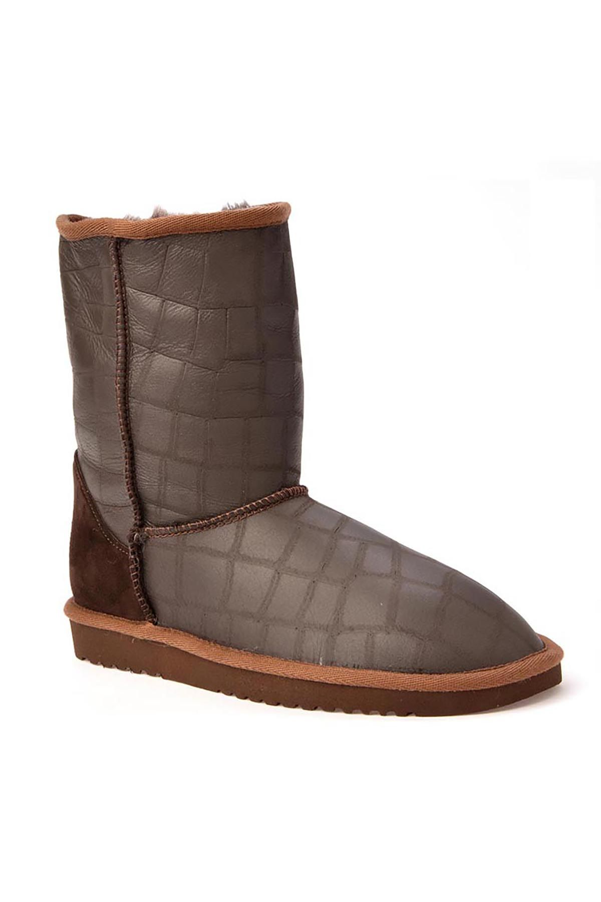 Cool Moon Classic Women Boots From Genuine Leather With Square Pattern Brown