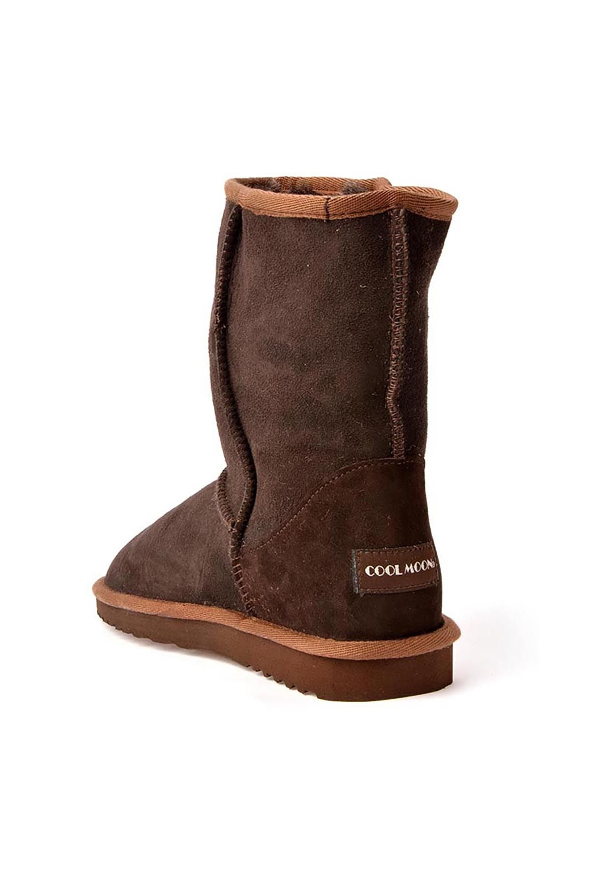 Cool Moon Classic Women Boots From Genuine Suede Brown