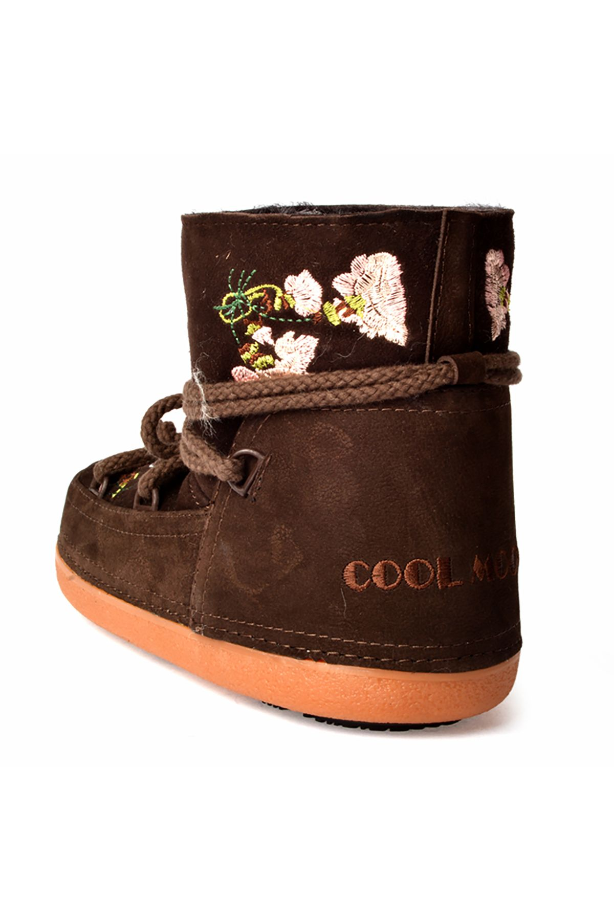 Cool Moon Women Snowboots From Genuine Fur And Suede Decorated With Embroidering Brown
