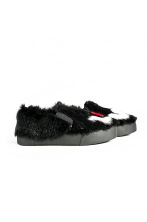 Pegia Women Sneakers From Genuine Fur With LOVE Print Black