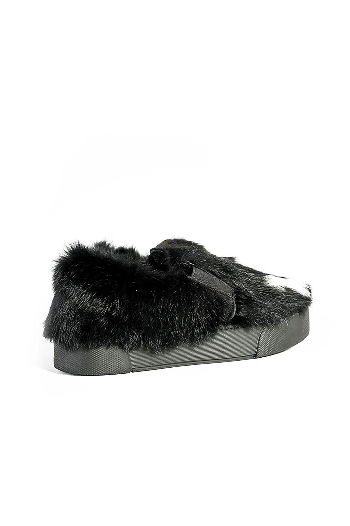 Pegia Hakiki Kürklü LOVE Yazılı Bayan Sneaker 659534 Siyah