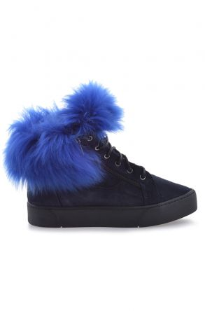 Pegia Women Boots With Zip Decorated With Genuine Toscana Fur 659548 Navy blue