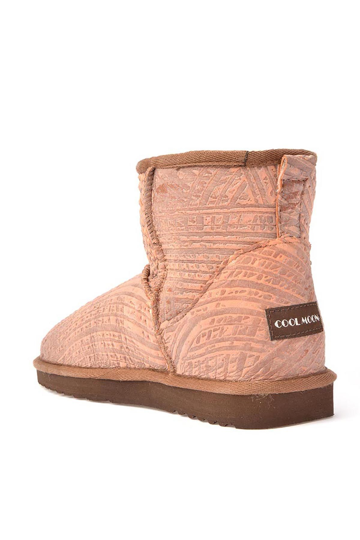Cool Moon Patterned Women Boots From Genuine Fur 990222 Pink