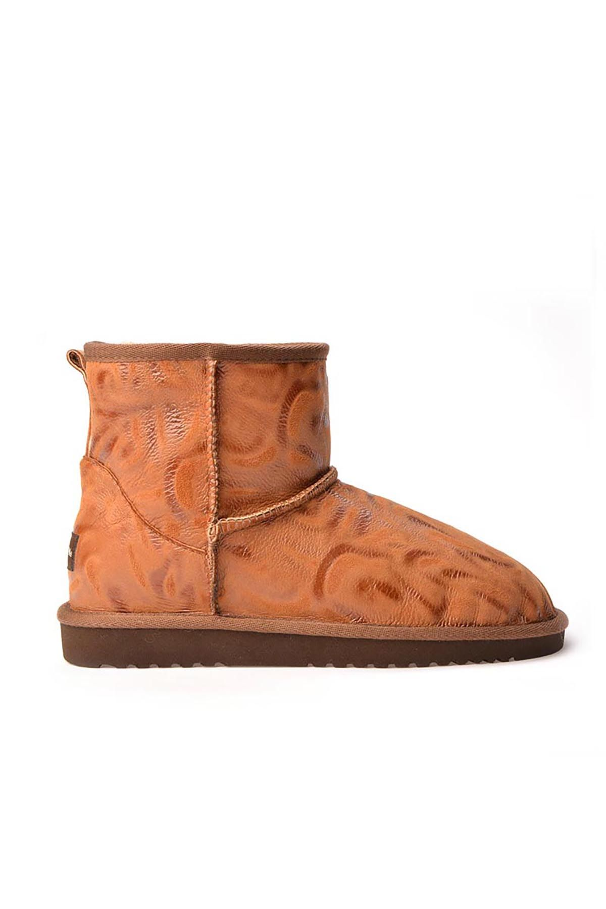 Cool Moon Patterned Women Boots From Genuine Fur Ginger