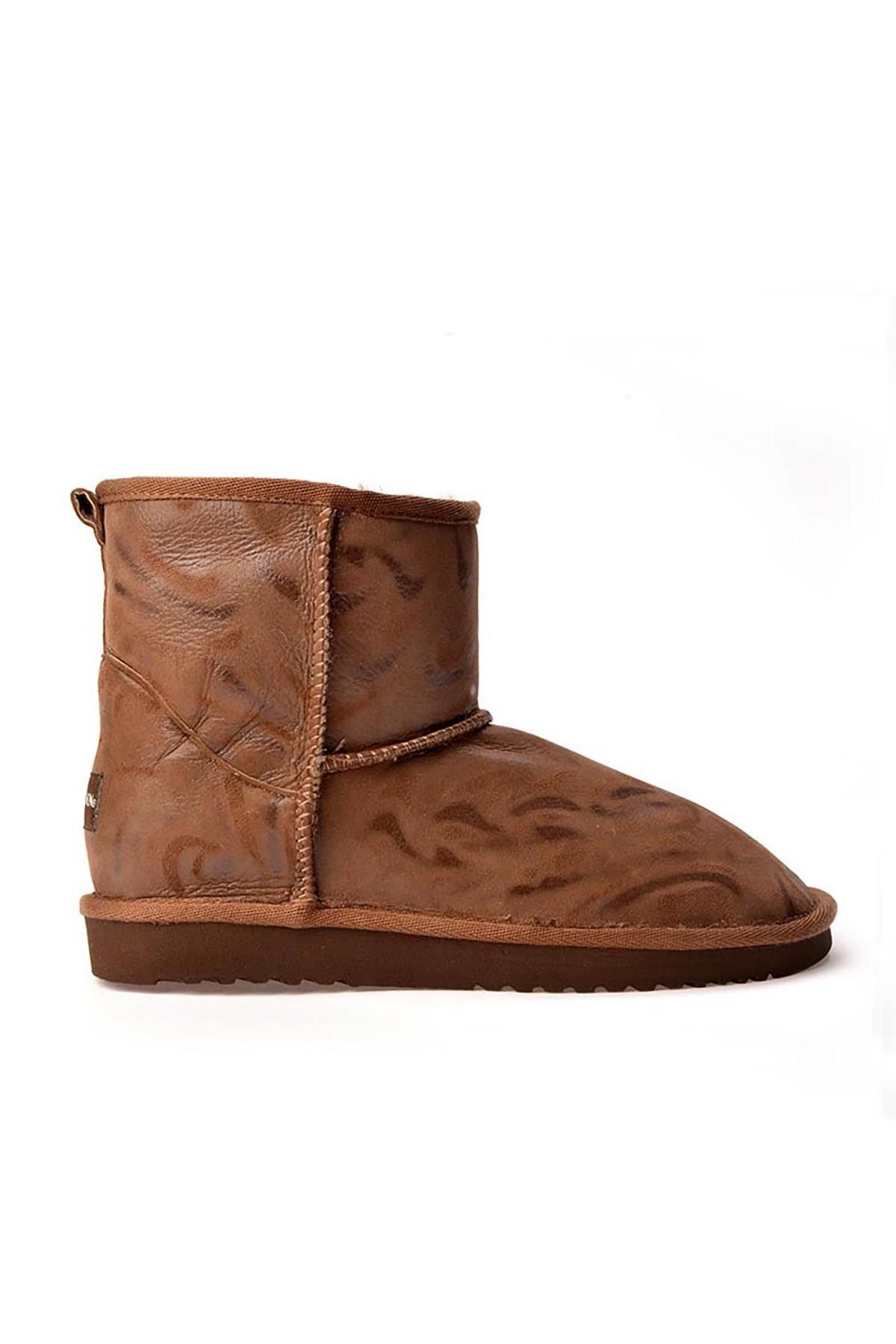 Cool Moon Patterned Women Boots From Genuine Fur Brown
