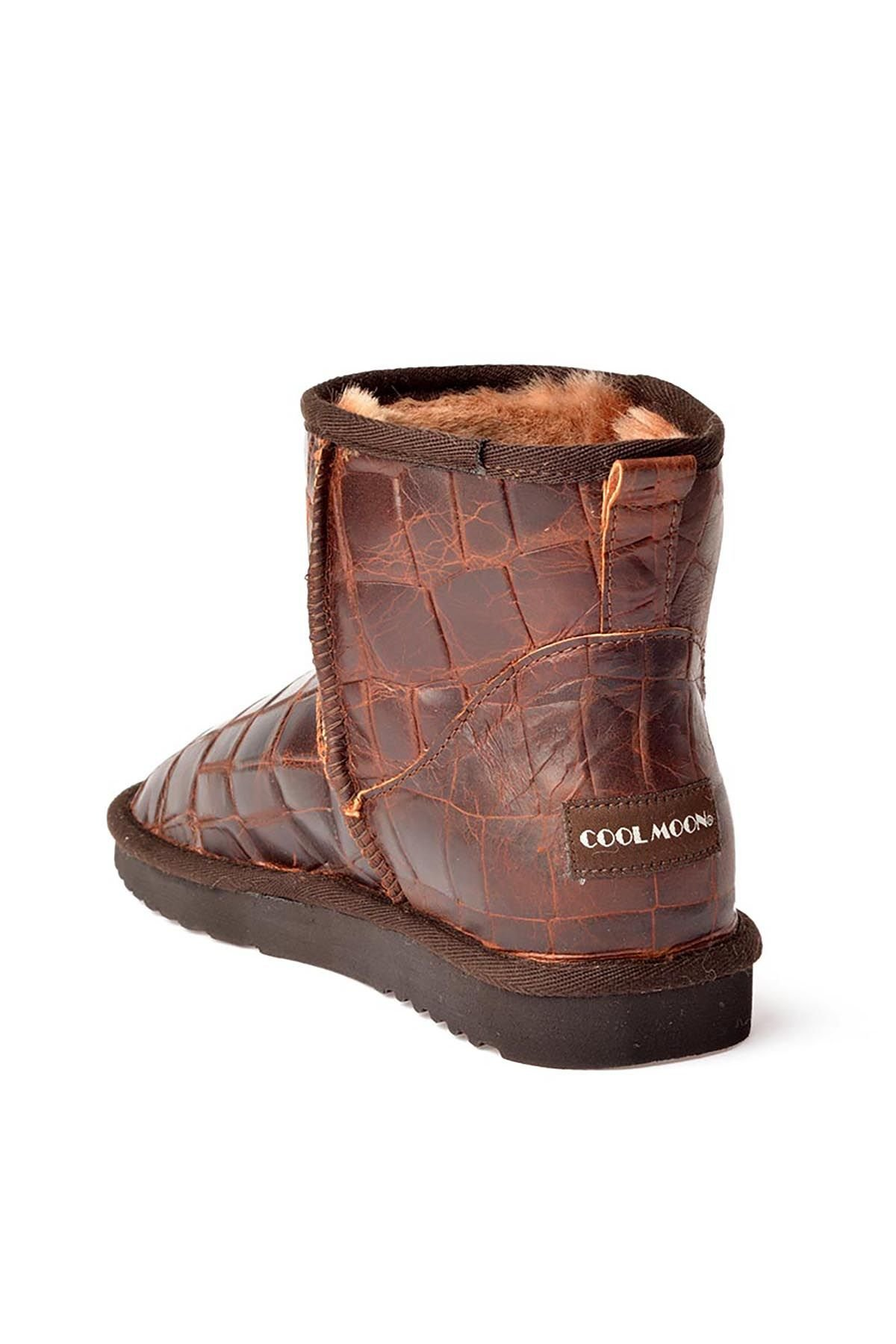 Cool Moon Women Boots From Genuine Fur With Crocodile Pattern 990153 Brown