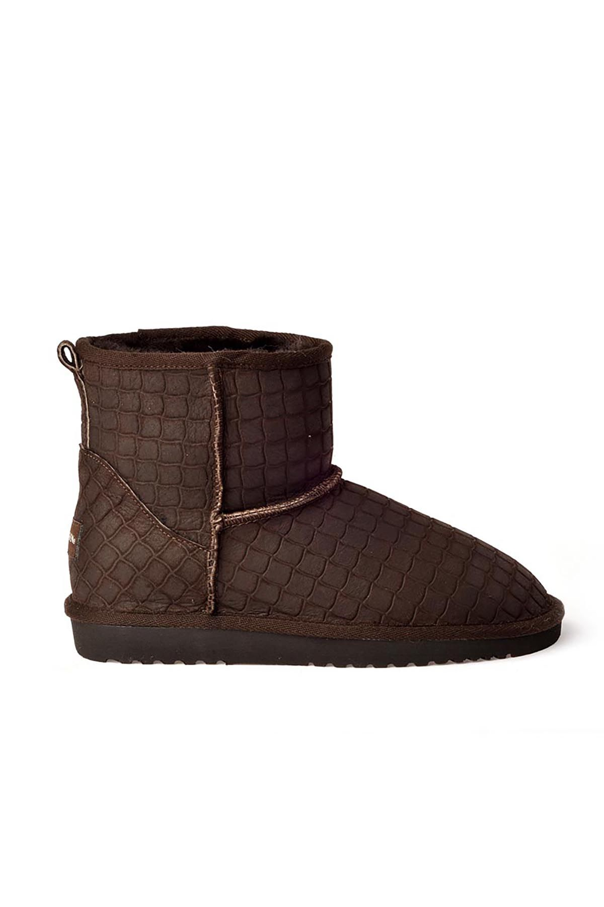 Cool Moon Women Boots From Genuine Fur With Crocodile Pattern 990165 Brown