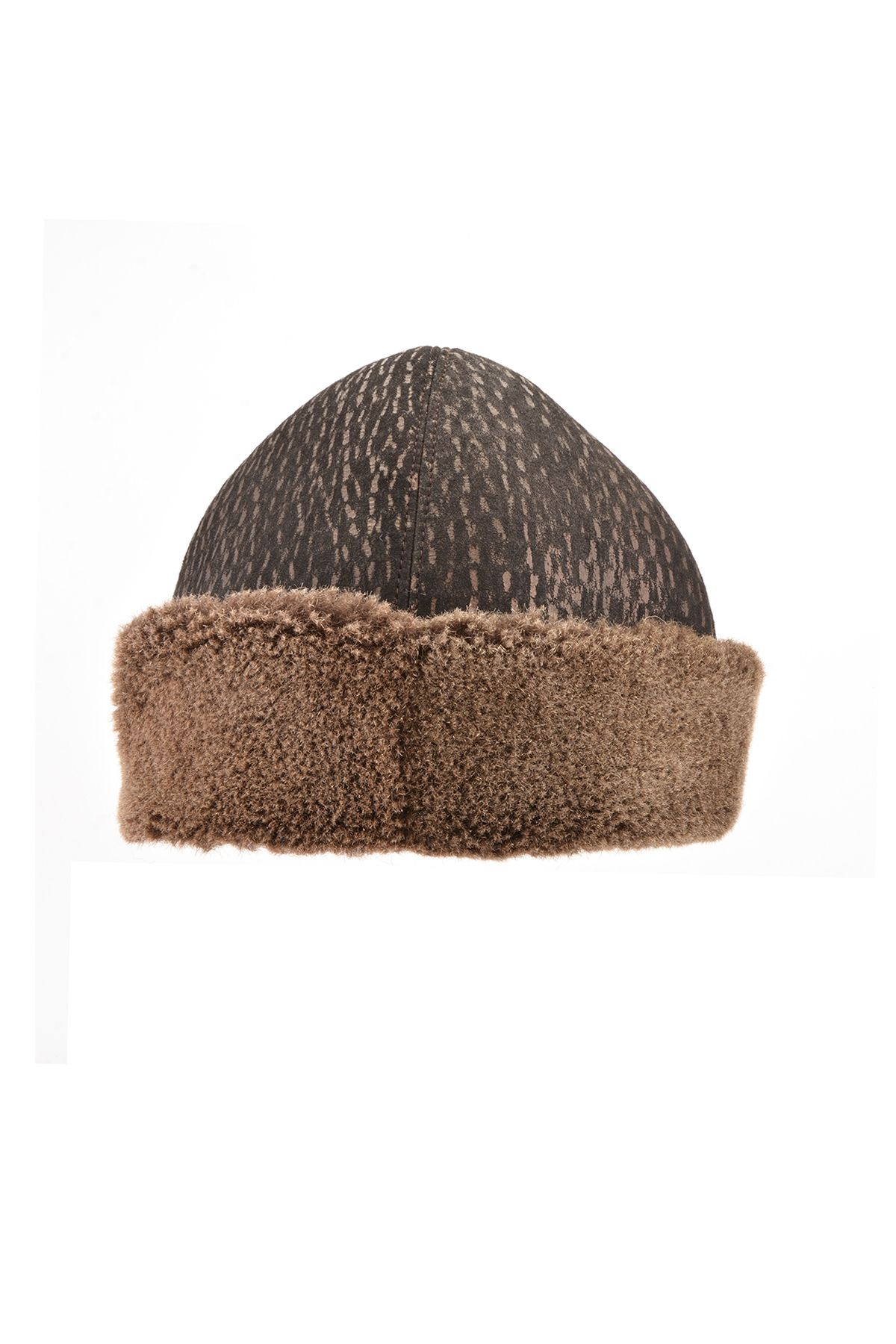 Pegia Ottoman Hat From Genuine Leather And Fur Brown