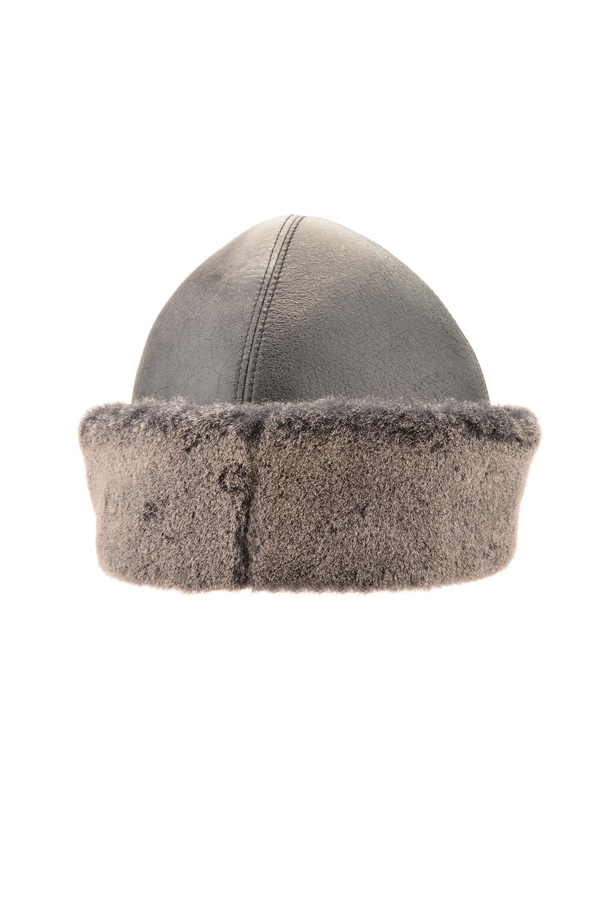 Pegia Ottoman Hat From Vintage Leather And Genuine Fur Gray