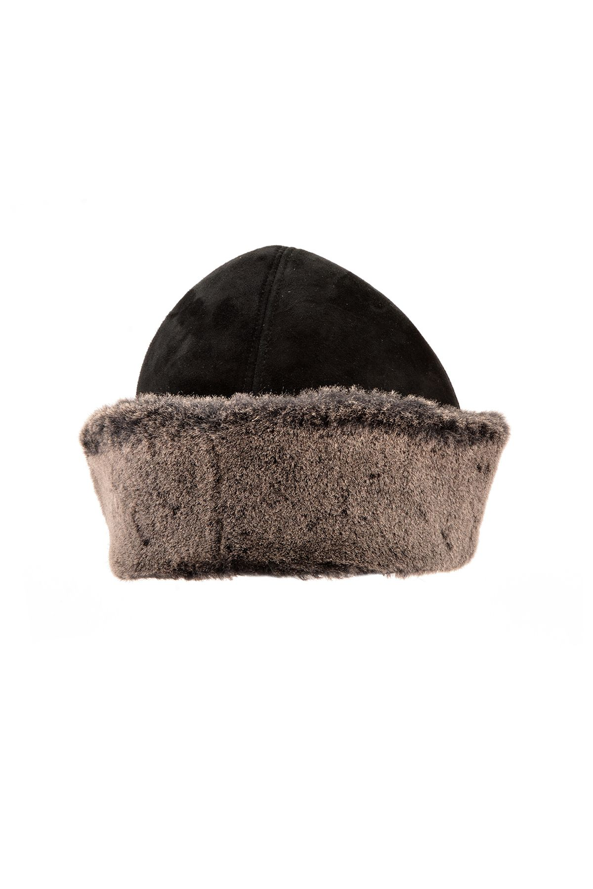Pegia Ottoman Hat From Vintage Suede And Genuine Fur Black