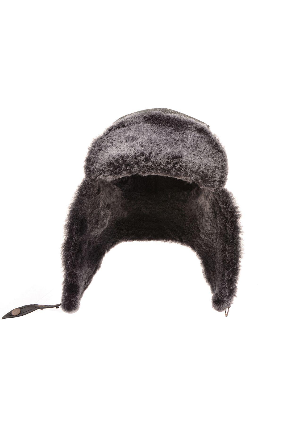 Pegia Hakiki Deri İçi Kürk Pilot Şapka 18AS12 Siyah