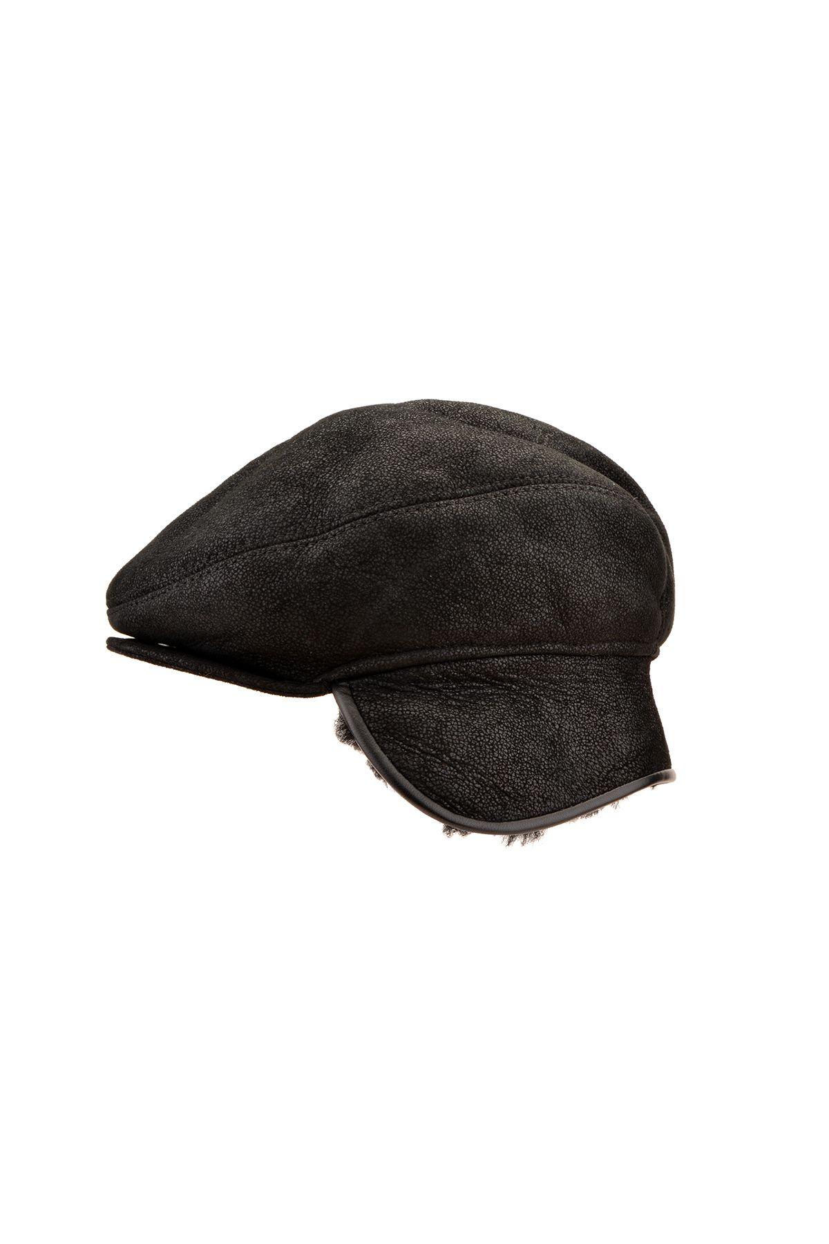 Pegia Hakiki Vintage Deri İçi Kürk Kep Şapka 18AS15 Siyah