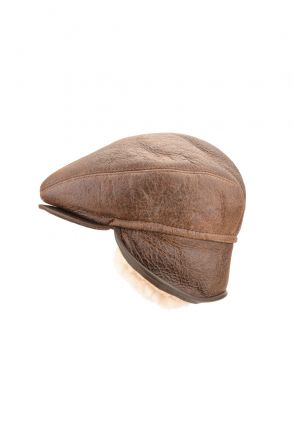 Pegia Peacked Cap From Vintage Leather And Genuine Fur Brown