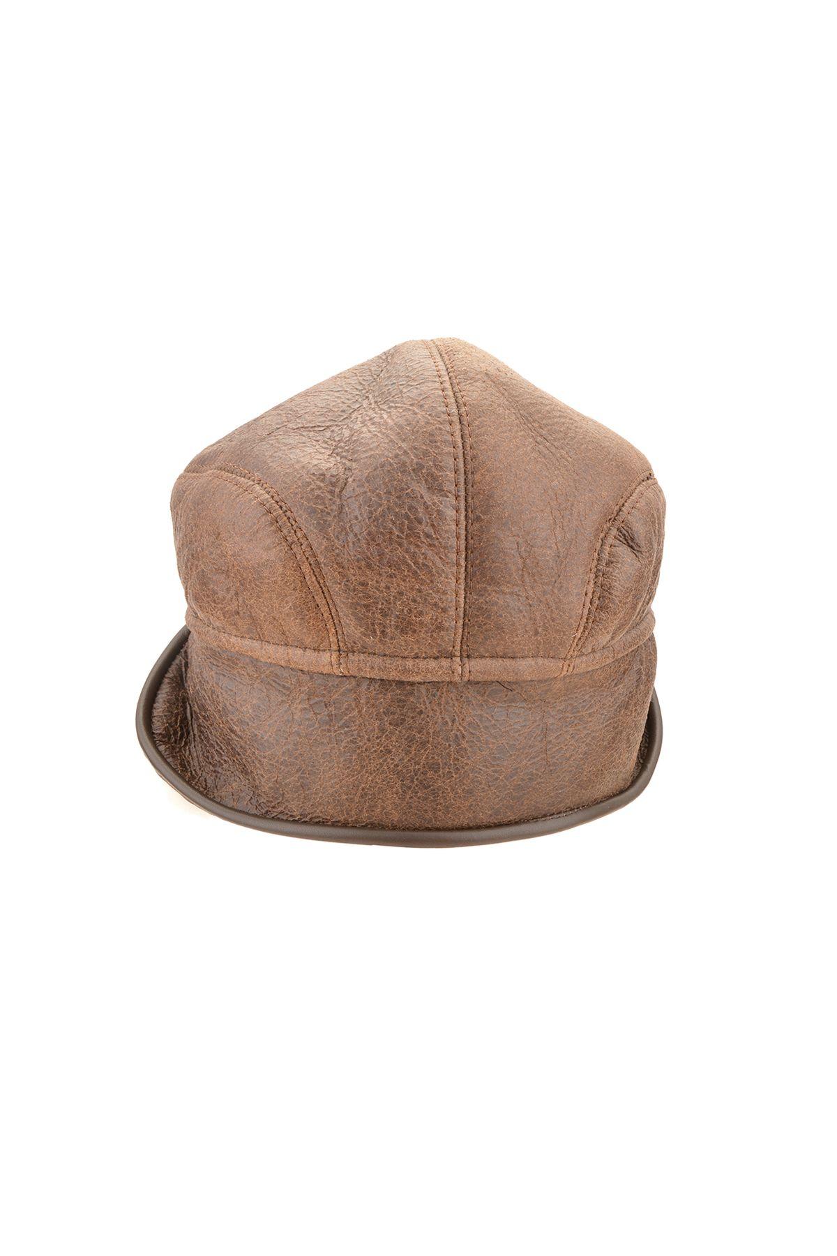 Pegia Hakiki Vintage Deri İçi Kürk Kep Şapka 18AS15 Kahve