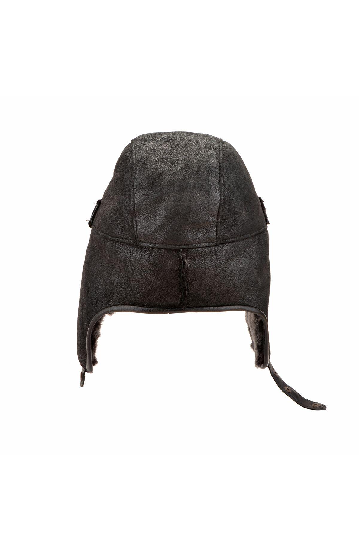 Pegia Hakiki Deri İçi Kürk Pilot Şapka 18AS16 Siyah