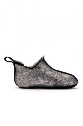 Pegia Kids House-Shoes From Genuine Fur Silver