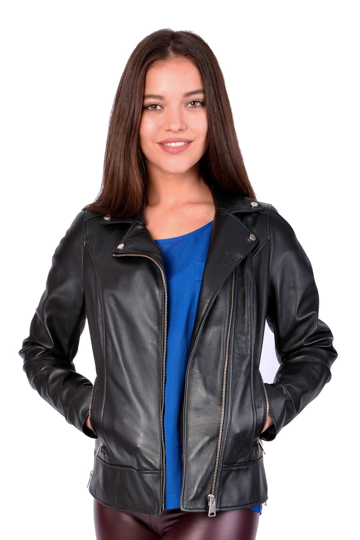 Pegia Women Leather Jacket Black