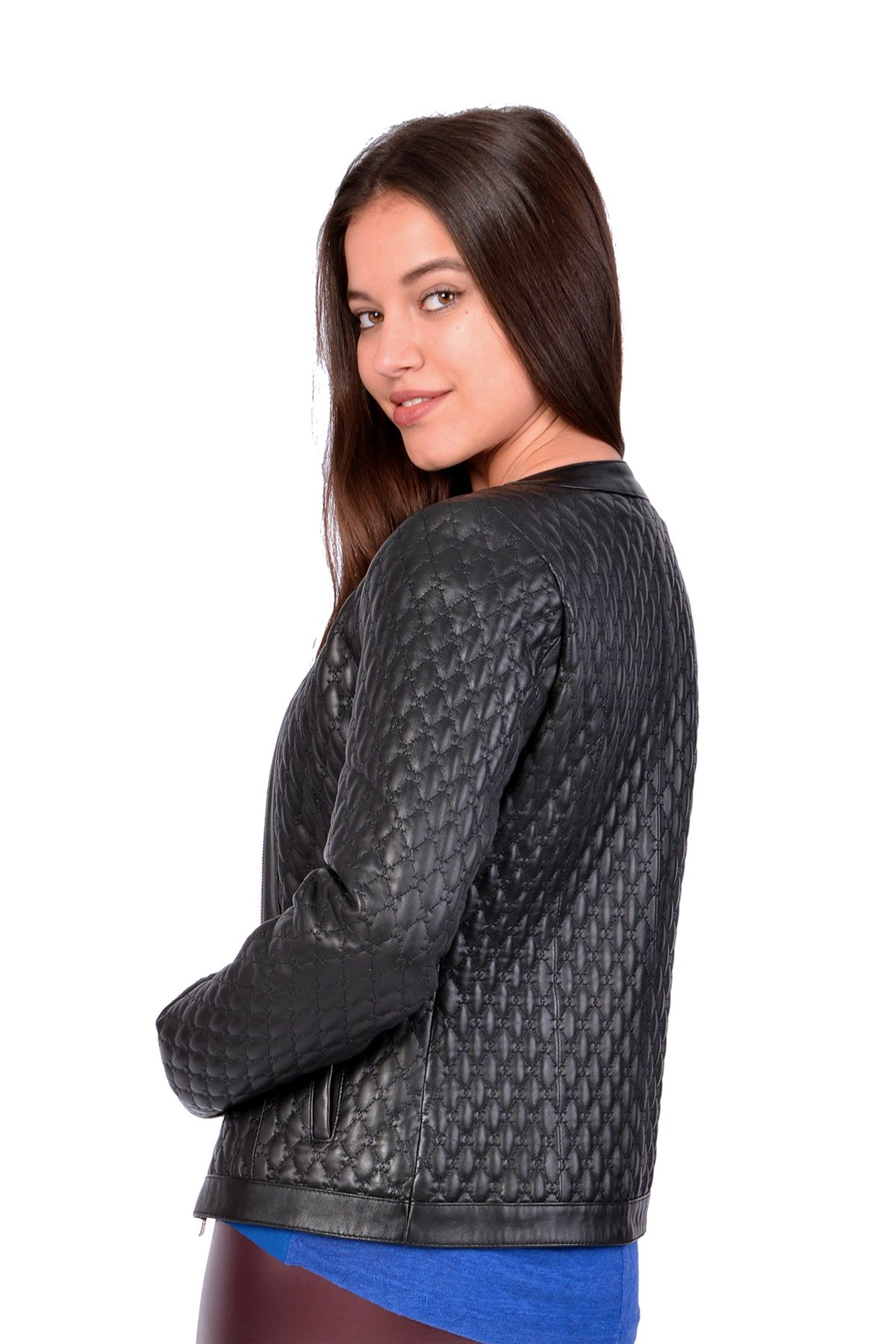 Pegia Quilted Women Leather Jacket Black