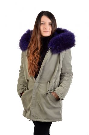 Pegia Women Jacket From Genuine Fur With Capuchon Purple