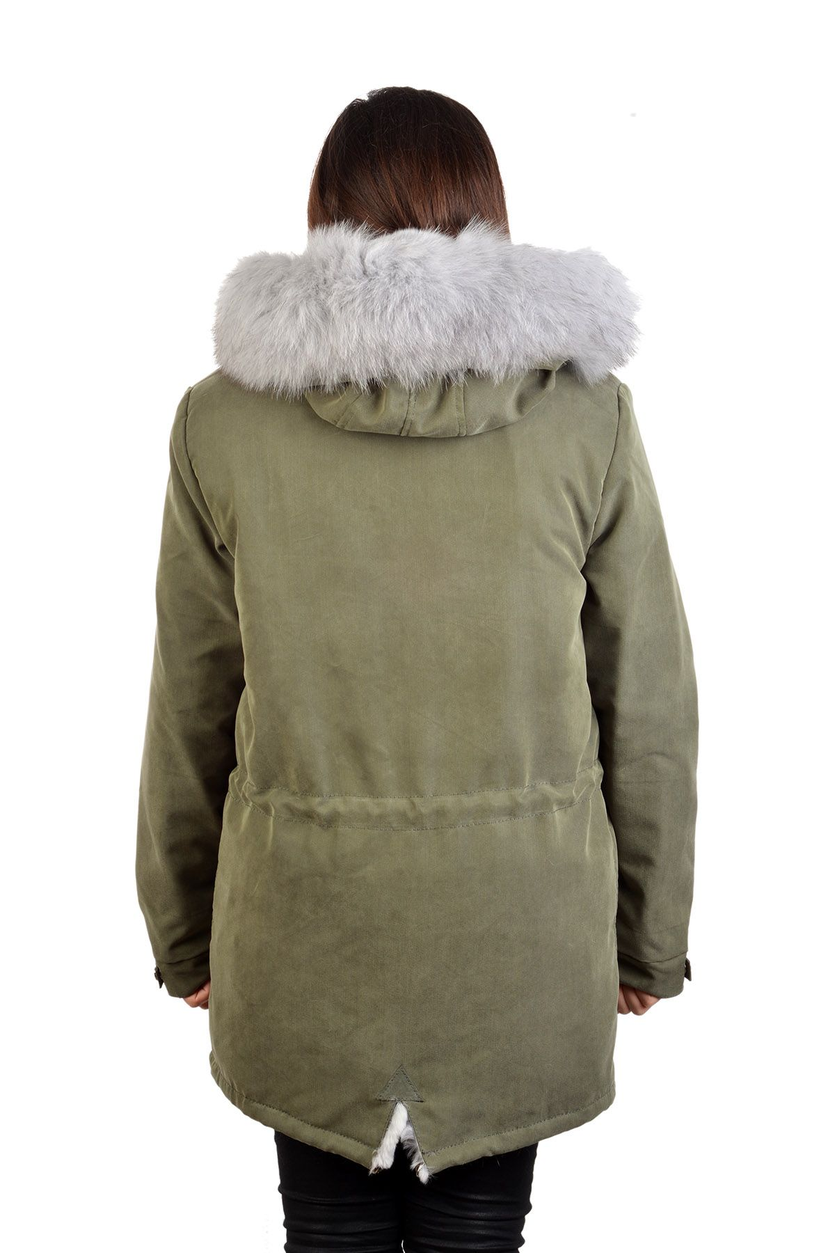 Pegia Women Jacket From Genuine Fur With Capuchon Gray