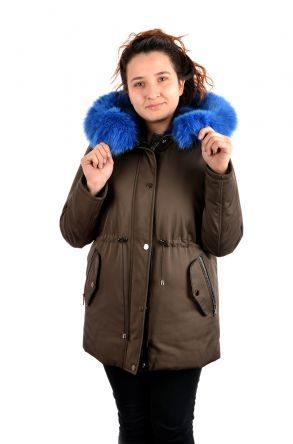 Pegia Women Jacket From Genuine Fur With Detachable Vest Blue