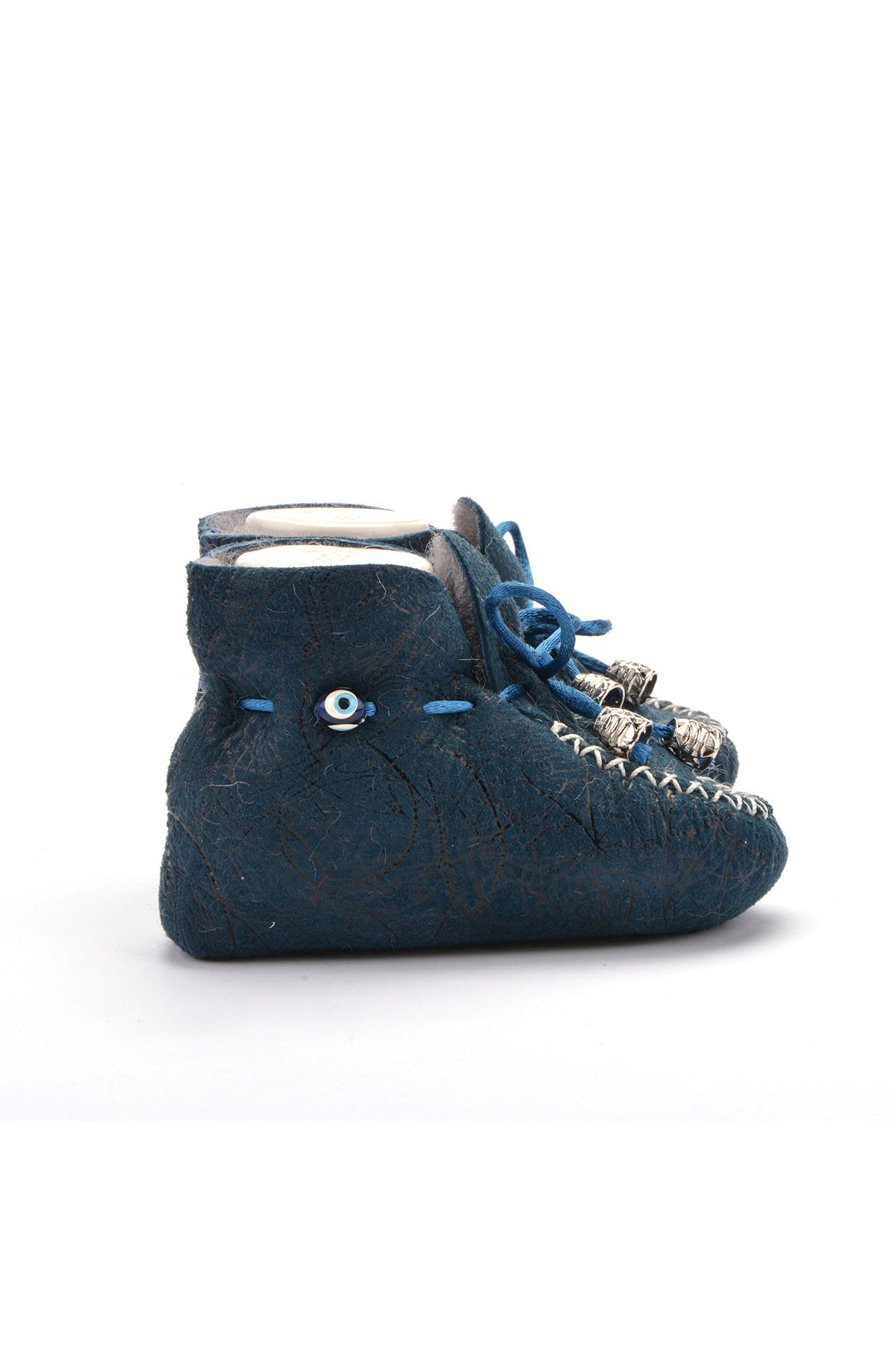 Pegia Laced Kids Booties From Genuine Fur Blue