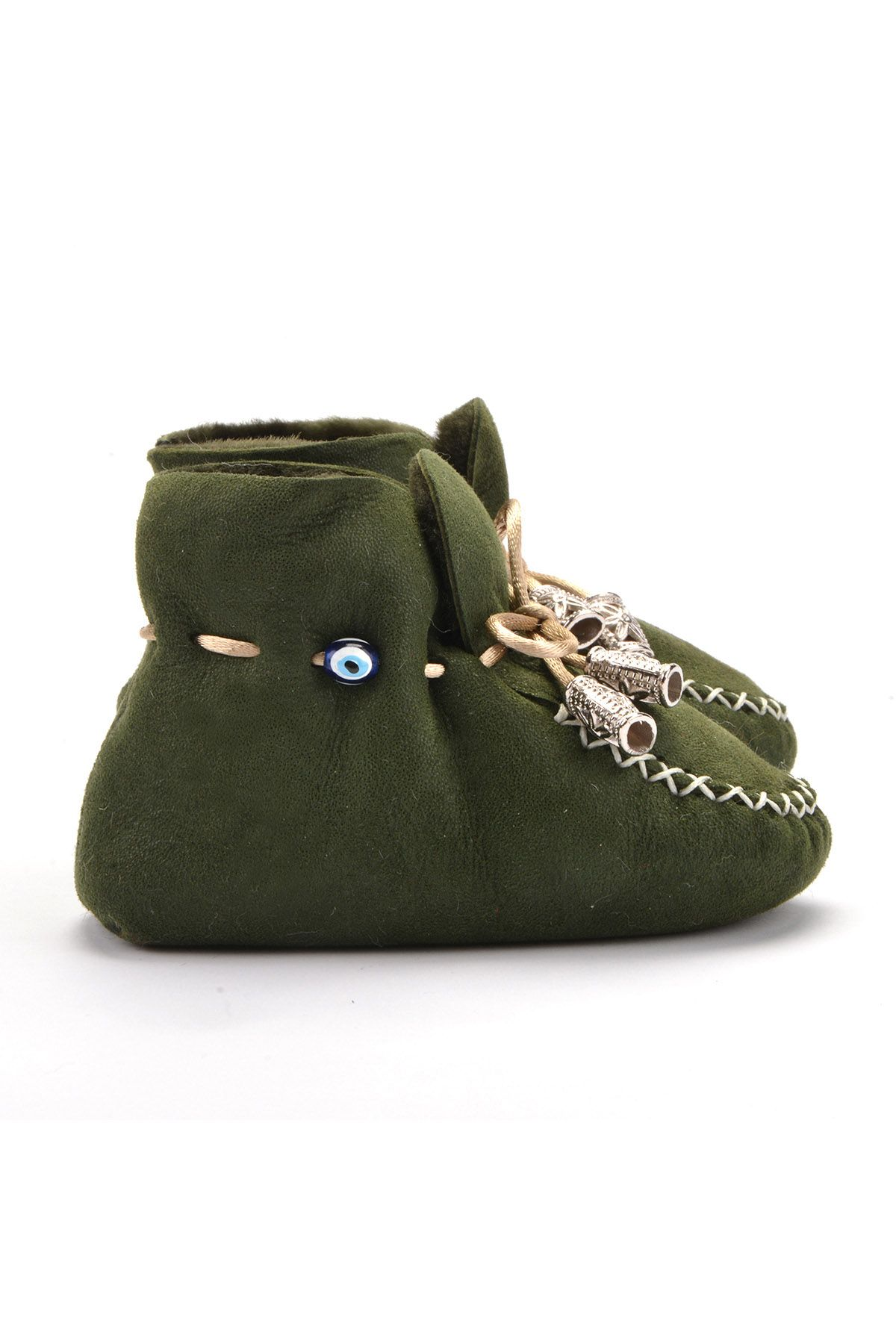 Pegia Laced Kids Booties From Genuine Fur Khaki