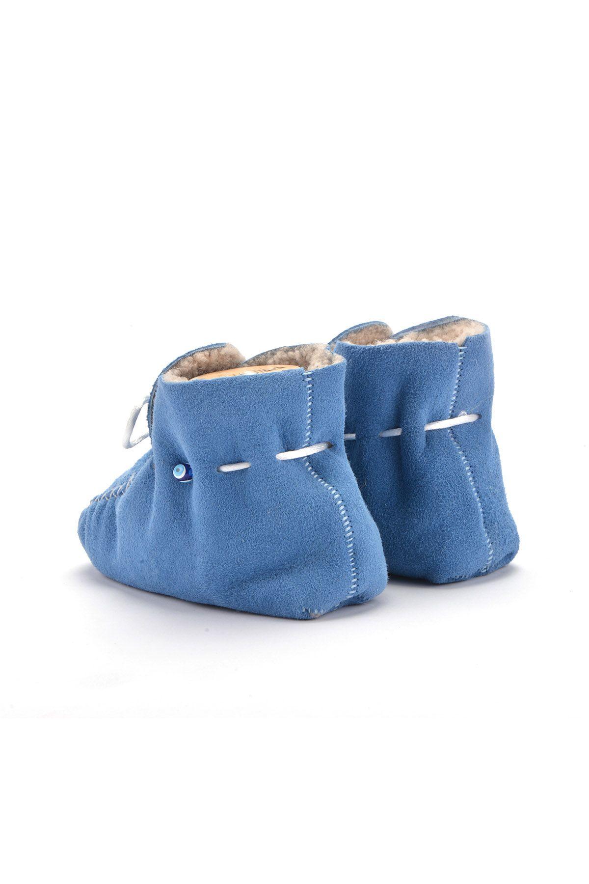 Pegia Hakiki Kürklü Bağcıklı Bebek Patiği 141003 Mavi