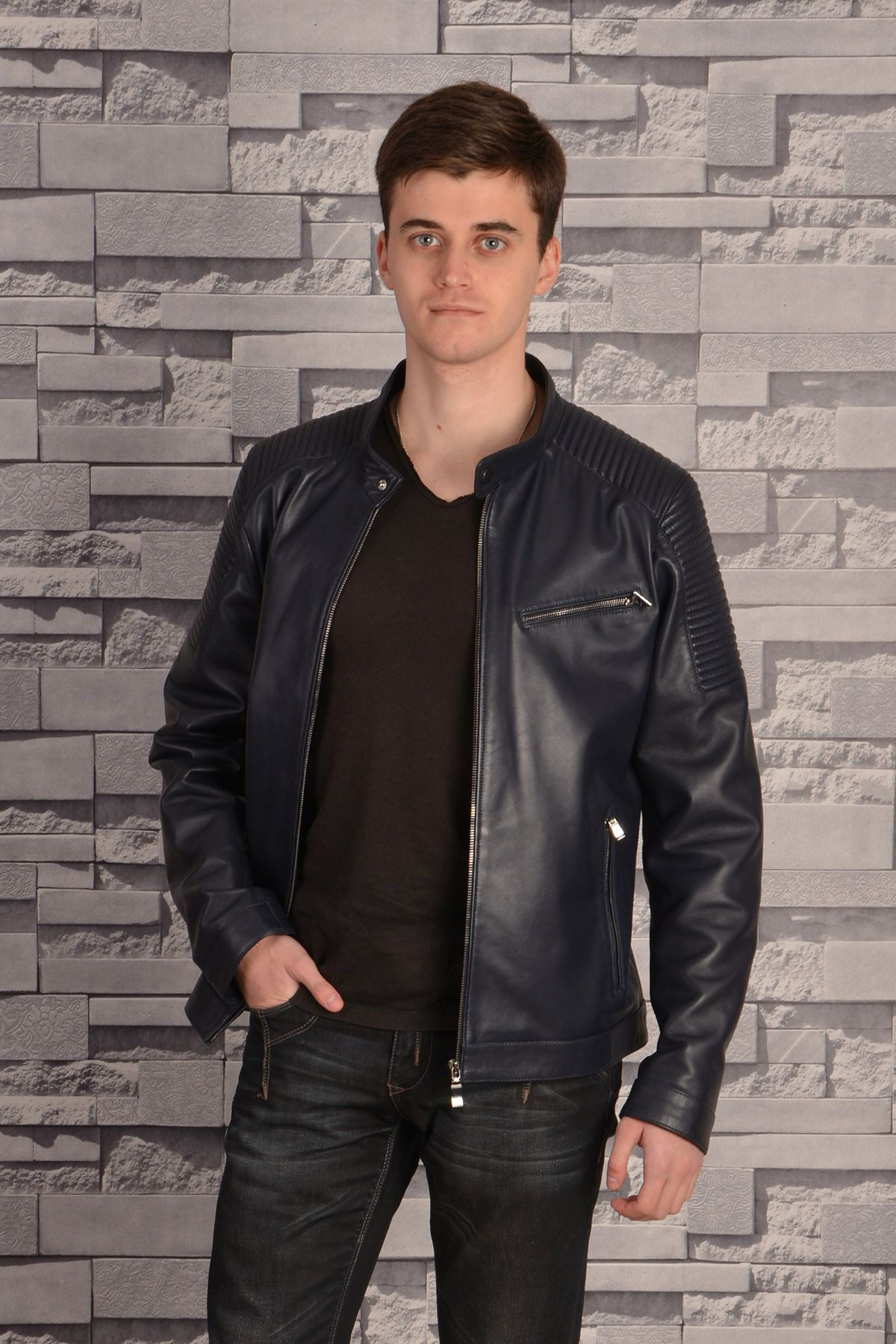 Pegia Zipped Men Leather Jacket Navy blue