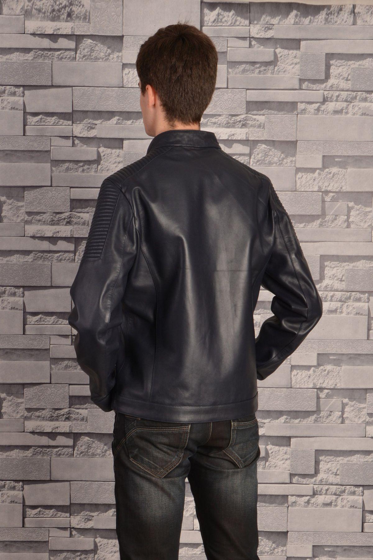 Pegia Мужская Куртка Из Натуральной Кожи С Молниями Темно-синий