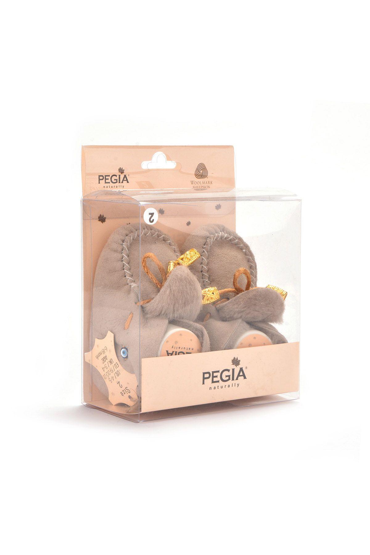 Pegia Hakiki Kürklü Bağcıklı Bebek Patiği 141003 Bej