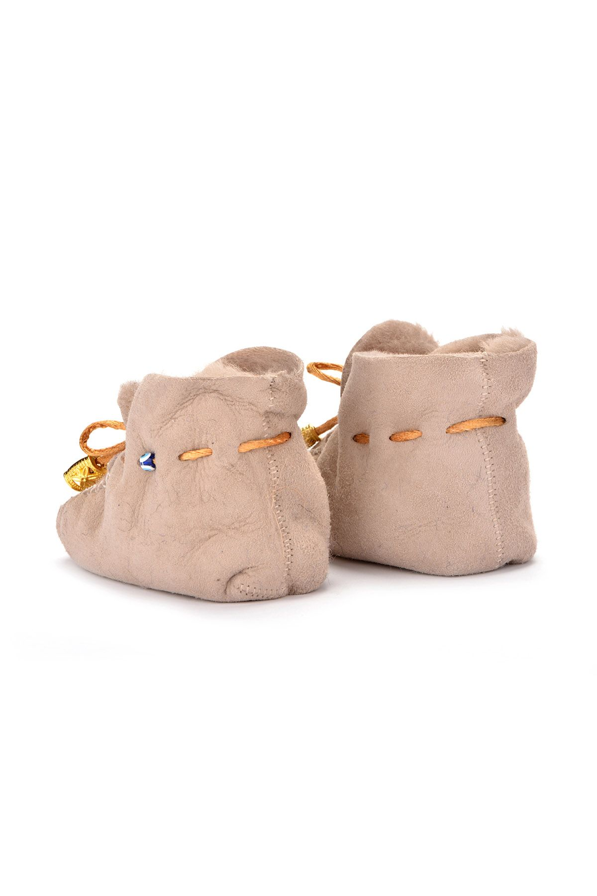 Pegia Laced Kids Booties From Genuine Fur Beige