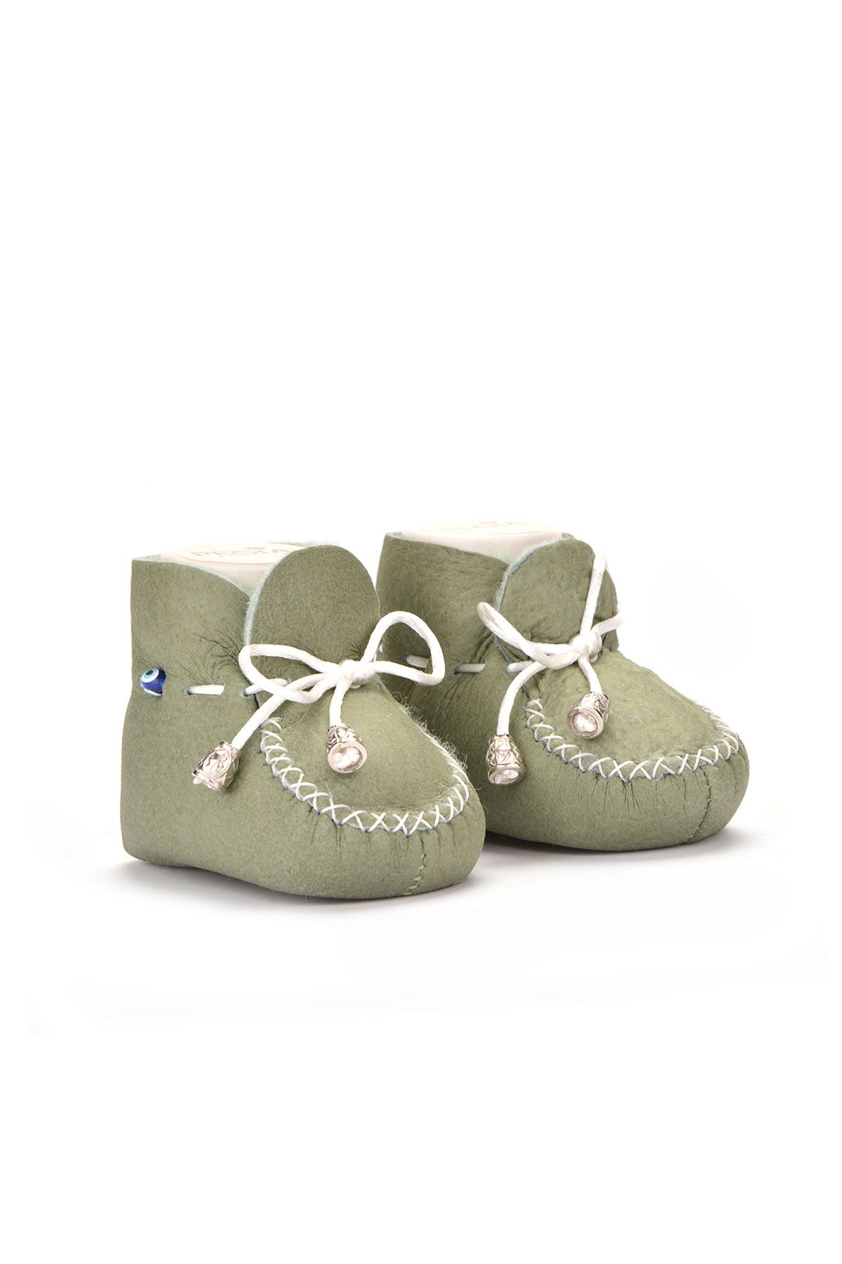Pegia Laced Kids Booties From Genuine Fur Light Green