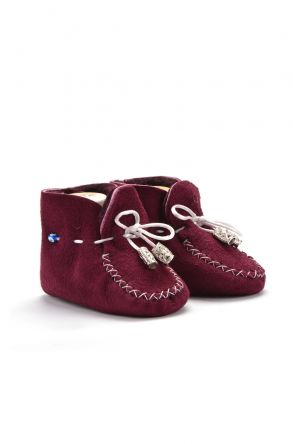 Pegia Laced Kids Booties From Genuine Fur Purple