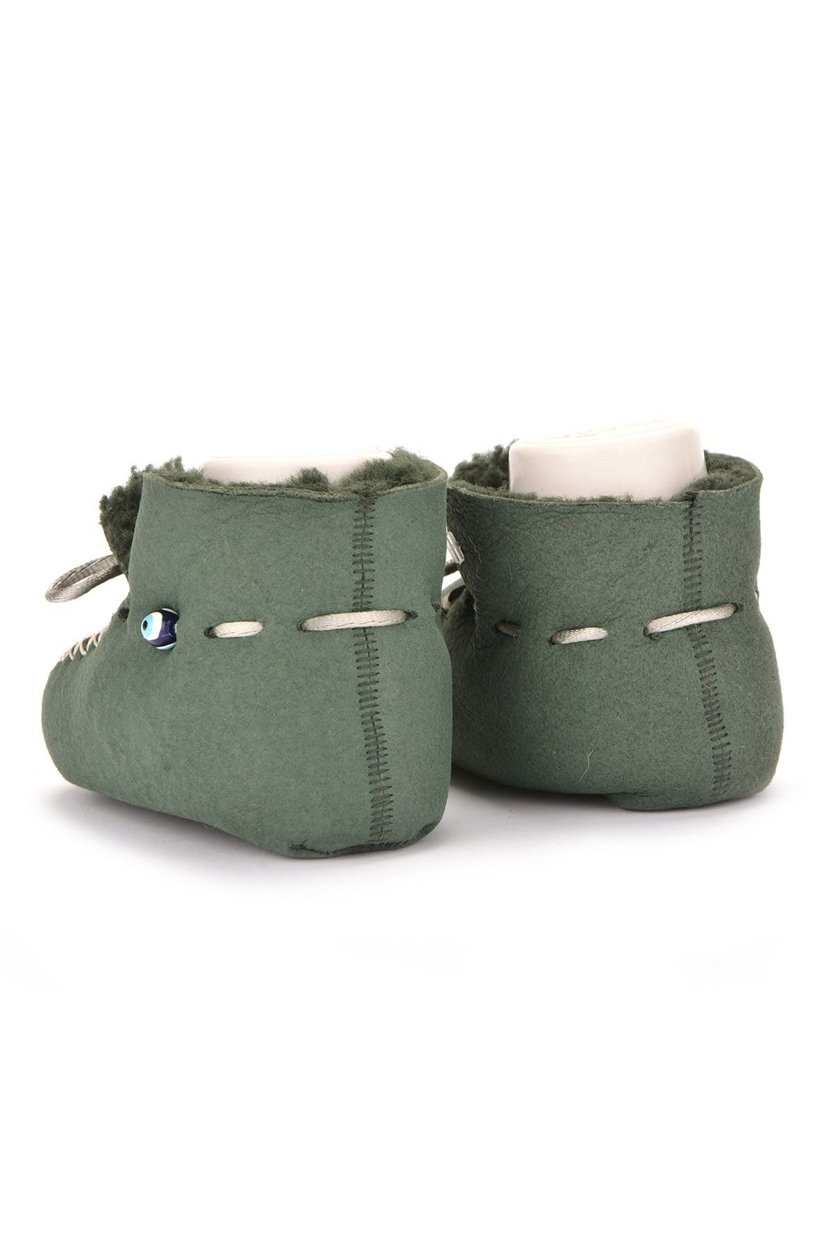 Pegia Hakiki Kürklü Bağcıklı Bebek Patiği 141003 Yeşil
