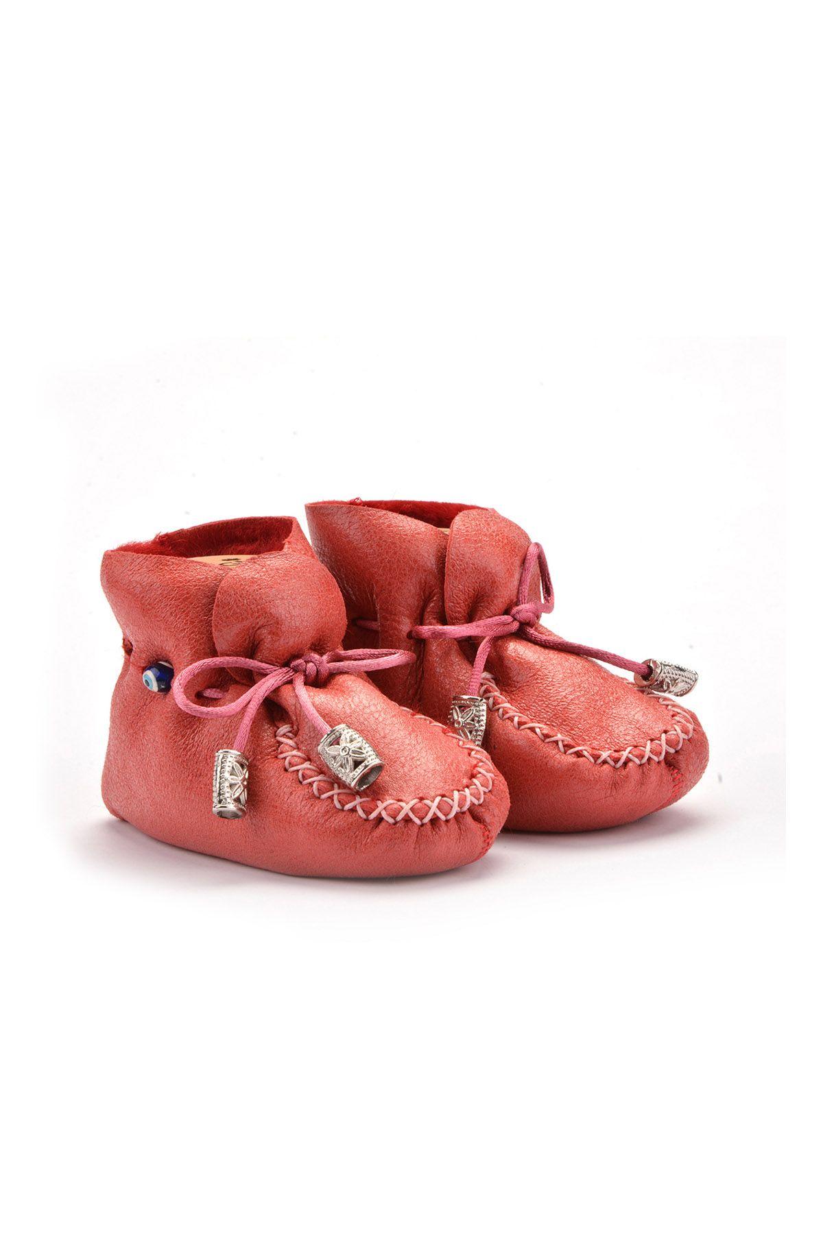 Pegia Hakiki Kürklü Bağcıklı Bebek Patiği 141003 Kırmızı