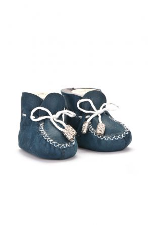 Pegia Laced Kids Booties From Genuine Fur Turquoise