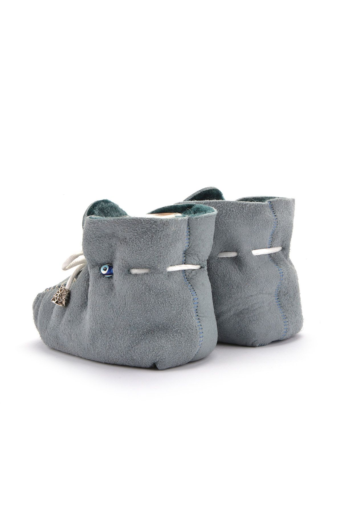 Pegia Laced Kids Booties From Genuine Fur Anthracite-colored